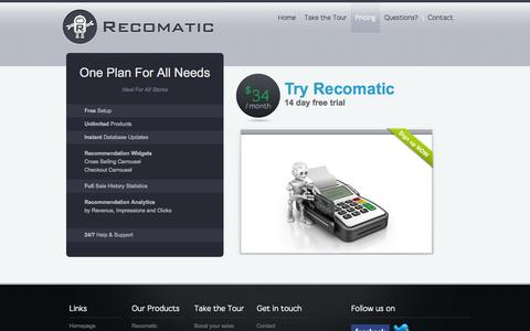 Screenshot of Pricing Page recomaticapp.com - Recomatic - Automatic Recommendation for your shopify store - Pricing - captured Nov. 3, 2014