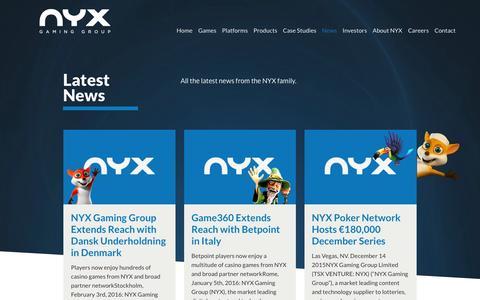 Screenshot of Press Page nyxgaminggroup.com - News | NYX Gaming - captured Feb. 13, 2016