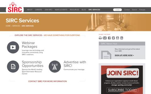Screenshot of Services Page sirc.ca - SIRC Services | SIRC - captured July 25, 2018