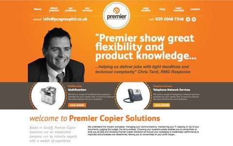 Screenshot of Home Page premiercopiersolutions.co.uk - Premier Copier Solutions - captured Sept. 30, 2014