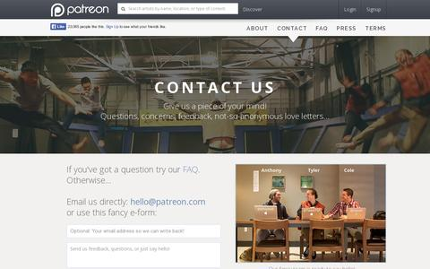 Screenshot of Contact Page patreon.com - Patreon: Contact Us - captured July 18, 2014
