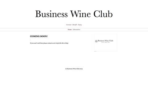 Screenshot of Home Page businesswineclub.nl - COMING SOON! | Business Wine Club - captured Sept. 30, 2014