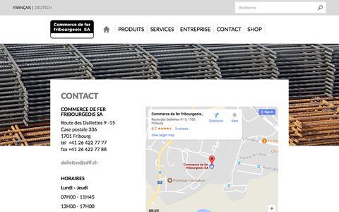 Screenshot of Contact Page cdff.ch - Contact - Commerce de fer fribourgeois SA, votre partenaire pour la construction - captured Aug. 18, 2017