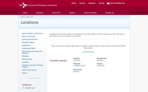 Screenshot of Locations Page ctc.com - CTC Locations - captured Nov. 9, 2018