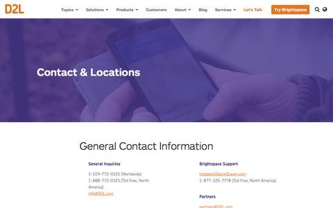 Screenshot of Locations Page d2l.com - Contact & Locations | D2L - captured July 3, 2016