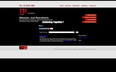 Screenshot of Press Page justrecruitment.com.au - Admin Jobs | Accounts Jobs | Engineering Jobs | Customer Service Jobs | Production Jobs | Marketings Jobs | | Just Recruitment - South East Melbourne Recruitment Agency - captured Oct. 6, 2014