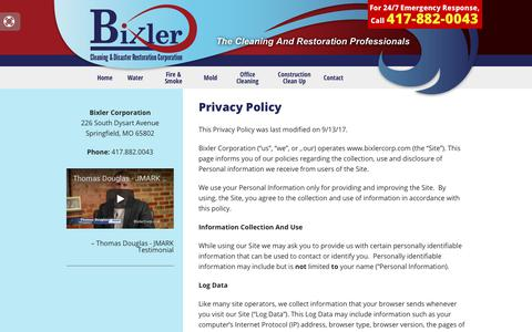 Screenshot of Privacy Page bixlercorp.com - Privacy Policy - captured Oct. 10, 2017
