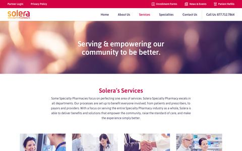 Screenshot of Services Page solerarx.com - Services - Solera Specialty Pharmacy - captured Oct. 18, 2018