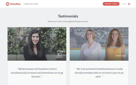 Screenshot of Testimonials Page chownow.com - ChowNow Testimonials and Reviews - captured Oct. 28, 2014