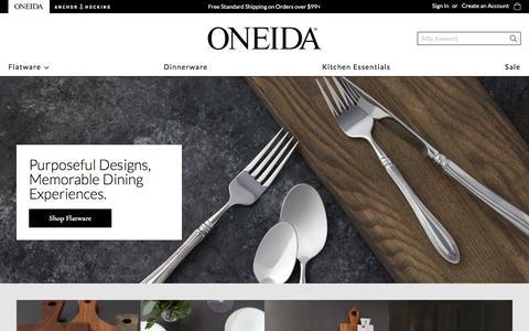 Screenshot of Home Page oneida.com - Oneida: Finest Quality Since 1880 - captured Aug. 12, 2019