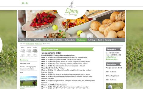 Screenshot of Menu Page golflipiny.cz - Menu | Restaurace | Golf Resort Karviná-Lipiny - captured Oct. 3, 2014