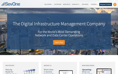 Screenshot of Home Page sevone.com - Network and Infrastructure Performance Management: Engineered for Speed at Scale - captured Dec. 19, 2015