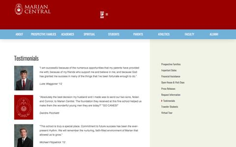 Screenshot of Testimonials Page marian.com - Testimonials - Marian Catholic Central - captured May 15, 2018