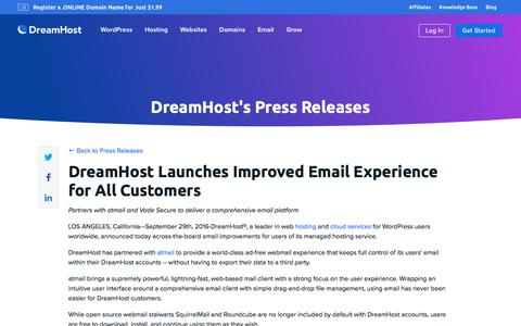 Screenshot of Press Page dreamhost.com - DreamHost Launches Improved Email Experience for All Customers  – DreamHost - captured Feb. 21, 2020