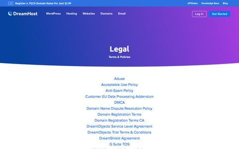 Screenshot of Terms Page dreamhost.com - Legal  – DreamHost - captured Nov. 7, 2019