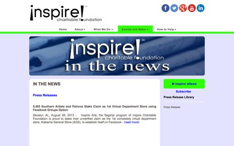 Screenshot of Press Page inspirecharitablefoundation.org - In The News | Inspire Charitable Foundation - captured Sept. 30, 2014