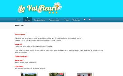 Screenshot of Services Page campingvalfleuri.fr - Services | Campsite Du Val Fleuri - captured June 2, 2016