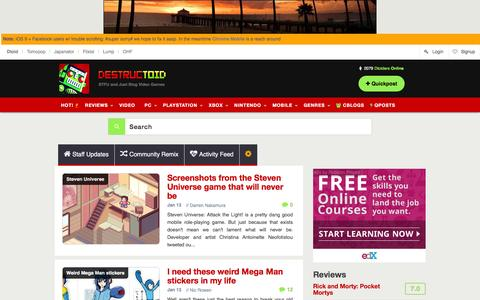 Screenshot of Home Page destructoid.com - Video games, news, reviews, trailers, and gamer guides - captured Jan. 13, 2016
