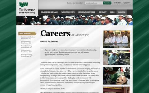 Screenshot of Jobs Page taubensee.com - Careers | Taubensee Steel & Wire Company - captured Oct. 26, 2014