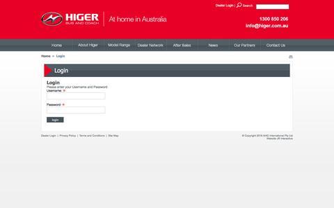 Screenshot of Login Page higer.com.au - Higer AU - Login - captured Feb. 17, 2016