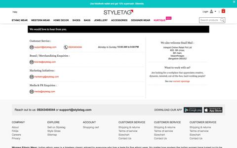 Screenshot of Contact Page styletag.com - Online Shopping Discounts On Designer Dresses For Women | Buy Handbags, Footwear, Accessories & More - Styletag - captured June 20, 2017