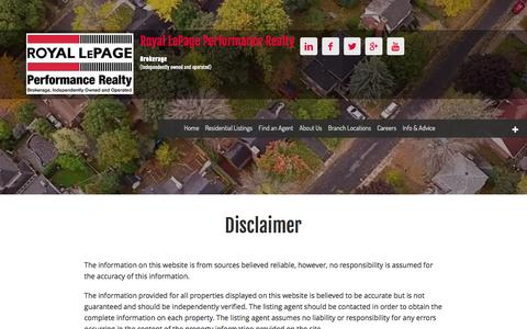 Disclaimer - Royal LePage Performance Realty