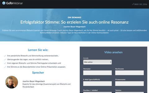 Screenshot of Landing Page gotomeeting.com - Erfolgsfaktor Stimme: So erzielen Sie auch online Resonanz - captured May 29, 2018
