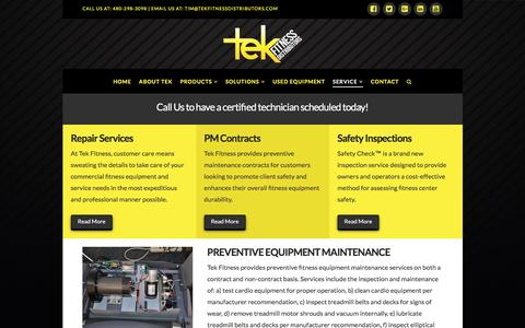 Screenshot of Services Page tekfitnessdistributors.com - Fitness Equipment Repair | Tek Fitness Distributors - Arizona's best fitness equipment provider, maintenance and gym designer - captured Aug. 13, 2016