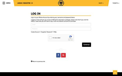 Screenshot of Login Page wolves.co.uk - Official Website of Wolves FC | Wolverhampton Wanderers FC - captured Oct. 25, 2017