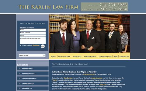 Screenshot of Blog karlinlaw.com - Tustin Litigation & Appeals Attorney Blog   Orange County Business Organizations Lawyer   California Business & Commercial Law Firm - captured Oct. 2, 2014