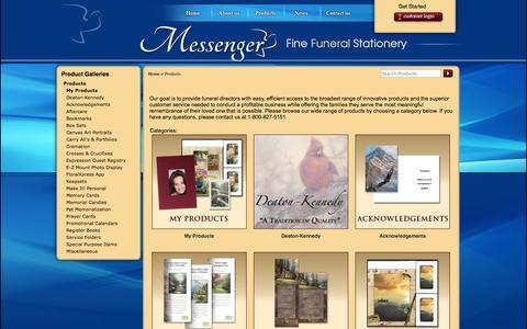 Screenshot of Products Page messengerstationery.com - Messenger Fine Funeral Stationery - captured Oct. 27, 2014