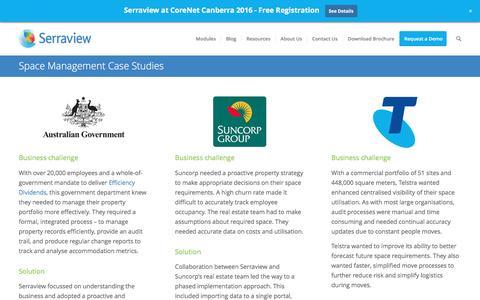 Screenshot of Case Studies Page serraview.com - Space Management Case Studies - captured July 21, 2016