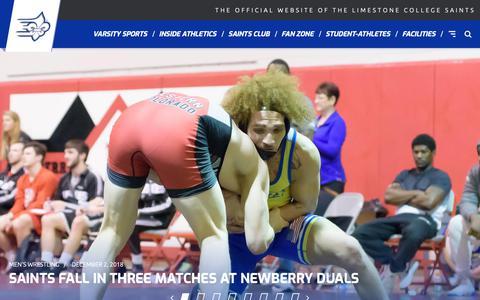 Screenshot of Home Page golimestonesaints.com - Limestone College - Official Athletics Website - captured Dec. 3, 2018