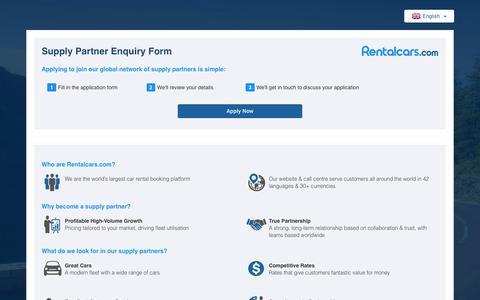 Screenshot of Signup Page rentalcars.com - Rentalcars.com - Supplier Extranet - Sign Up - Index - captured June 23, 2017