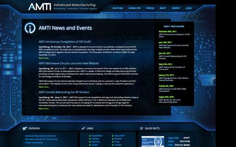 Screenshot of Press Page advmanufacturing.com - AMTI - AMTI News and Events - captured Nov. 20, 2016