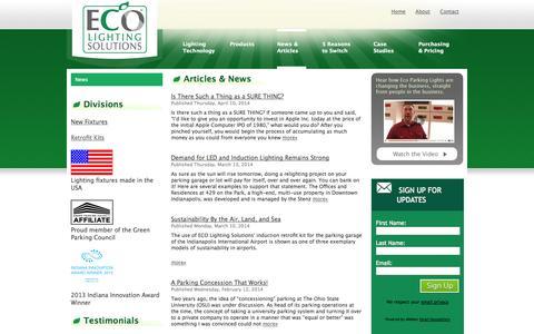 Screenshot of Press Page ecolightingsolutions.com - ECO Lighting Solutions / News - captured Sept. 26, 2014