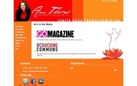 Screenshot of Press Page coachannthomas.com - CoachAnnThomas.com : Ann Thomas Life Coach - captured Nov. 21, 2016