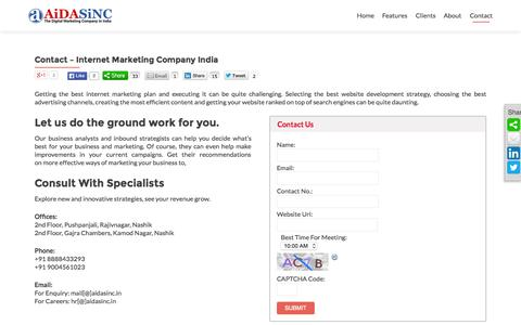 Screenshot of Contact Page aidasinc.com - Internet Marketing Company India | Digital Marketing Services - captured Aug. 11, 2015