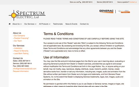 Screenshot of Terms Page generatorscolorado.com - Terms & Conditions - captured Oct. 6, 2014