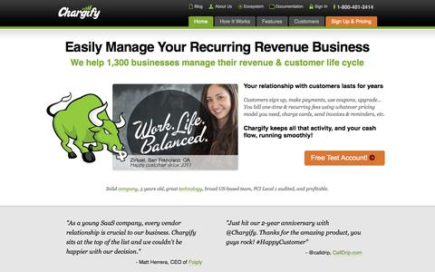 Screenshot of Home Page chargify.com - Recurring Billing, Subscription Billing, Web 2.0 and SaaS Billing - Chargify - captured Sept. 18, 2014