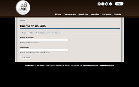Screenshot of Login Page azerogrupo.com - Cuenta de usuario | azero - captured Feb. 5, 2016