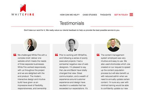 Screenshot of Testimonials Page white-fire.co.uk - What our clients say | White Fire Web Design - captured Oct. 20, 2017