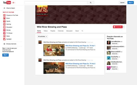 Screenshot of YouTube Page youtube.com - Wild River Brewing and Pizza  - YouTube - captured Oct. 26, 2014