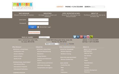 Screenshot of Login Page missouripartnership.com - User Log In - captured Sept. 19, 2014