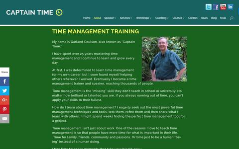 Screenshot of About Page captaintime.com - Time Management Training - Captain Time - Garland Coulson - captured June 22, 2017
