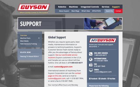 Screenshot of Support Page guyson.com - Support   Guyson - captured Dec. 16, 2018