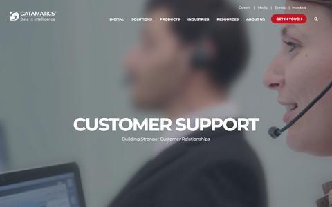 Screenshot of Support Page datamatics.com - Datamatics I Business Process Management I Customer Support Services - captured July 26, 2019