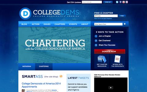 Screenshot of Home Page collegedems.com - College Democrats of America - captured Oct. 8, 2014
