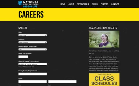 Screenshot of Jobs Page nfc1.com - Careers | National Fitness Center - captured March 3, 2016