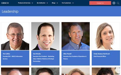 Screenshot of Team Page ebsco.com - Leadership   EBSCO - captured May 16, 2018